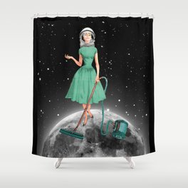 Housewife on the moon Shower Curtain