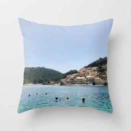 Bathers in Croatia. Throw Pillow