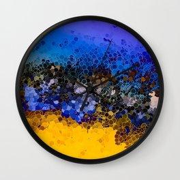 Blue and Summer Gold Circular Abstract Art Wall Clock