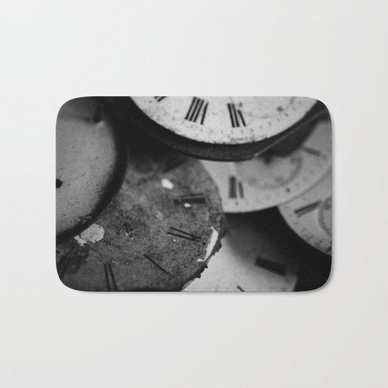 Time - Black and White Bath Mat