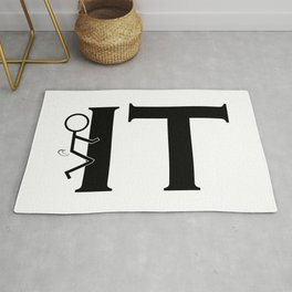 Fuck IT Humping Stickman Black Typography Sarcasm Humor Graphic Design - Illustration Rug