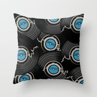 record Throw Pillows featuring Broken Record by 2EQUALS