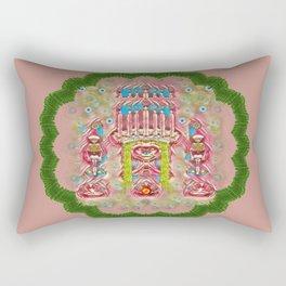 Sankta Lucia with friends light and floral santa skulls Rectangular Pillow
