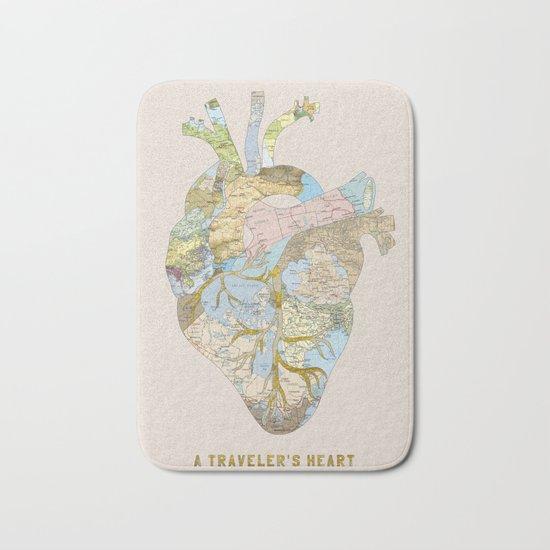 A Traveler's Heart Bath Mat