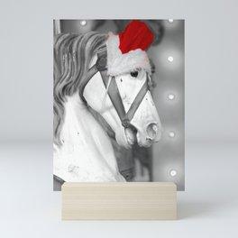 Santa Horse Black and White 3 Mini Art Print