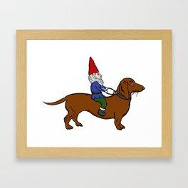 Gnome Riding a Dachshund Framed Art Print