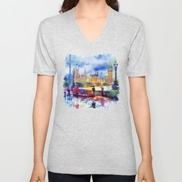 London Rain watercolor Unisex V-Neck