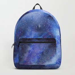 Starry Blue Galaxy Watercolor Backpack