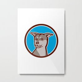 Husky Shar Pei Cross Dog Head Cartoon Metal Print