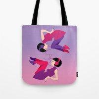 60s Tote Bags featuring 60s Zodiac Gals: Gemini by Skart87