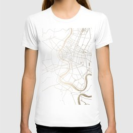 Bangkok Thailand Minimal Street Map - Gold Metallic and White IV T-shirt