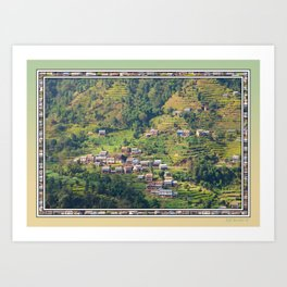 TERRACED HIMALAYAN FOOTHILLS VILLAGE IN NEPAL Art Print
