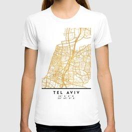 TEL AVIV ISRAEL CITY STREET MAP ART T-shirt