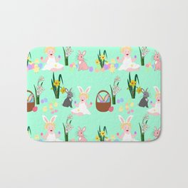 Easter pattern with babies, bunnies, eggs and daffodils Bath Mat
