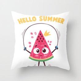 Melon Skipping Rope Fruit Hello Summer Watermelon Throw Pillow