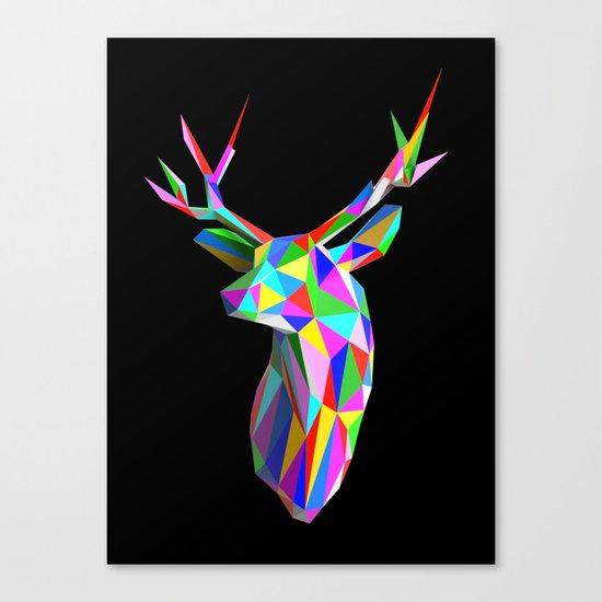 3D Stag Black Background Canvas Print