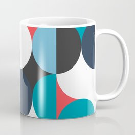 Circles Curves Shapes, Abstract and Geometry, Red, White, blues, black Coffee Mug