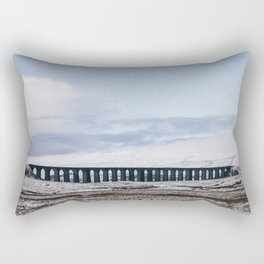 Snow and Moon over the Ribblehead Viaduct. Settle to Carlisle Railway, North Yorkshire, UK. Rectangular Pillow