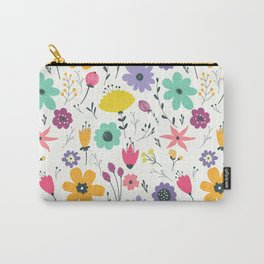 Colorful orange purple modern abstract floral illustration Carry-All Pouch