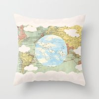 world maps Throw Pillows featuring Off The Maps by Grace M