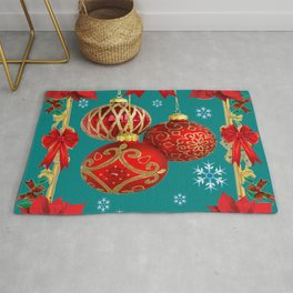 TEAL COLOR RED CHRISTMAS  ORNAMENTS &  POINSETTIAS FLOWER Rug