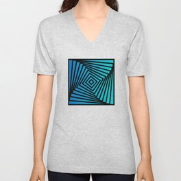 Squares twirling from the Center. Optical Illusion of Perspective bu Squares twirling Unisex V-Neck