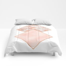 Diamond rose gold marble - soft blush Comforters
