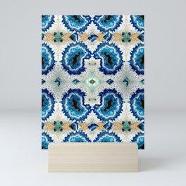 Stone pattern (Blue&Gold) Mini Art Print