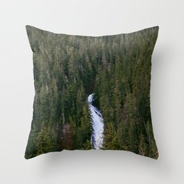 Waterfall in gifford-pinchot national forest, washington Throw Pillow