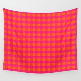 Pink and Orange Buffalo Plaid Pattern Wall Tapestry