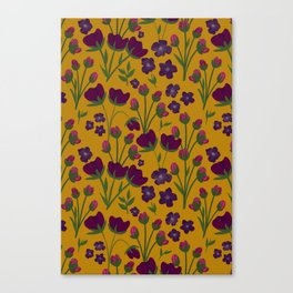 Purple and Gold Floral Seamless Illustration Canvas Print