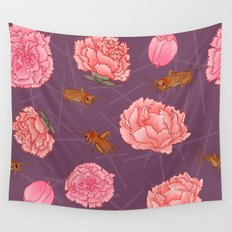 Carnations & Crickets Wall Tapestry
