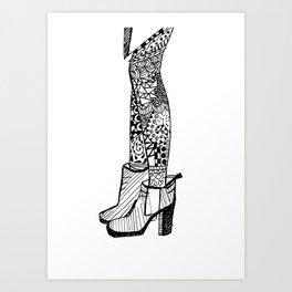 Doodle Boots Art Print