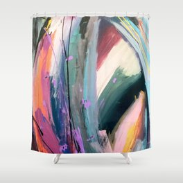 Eye of the Beholder [4]: a colorful, vibrant abstract in purples, blues, orange, pink, and gold Shower Curtain