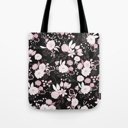 Blush pink white black rustic abstract floral illustration Tote Bag
