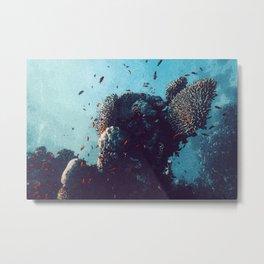 Stunning Coral Reef Watercolor Ocean Art Beautiful Earth Edition Metal Print