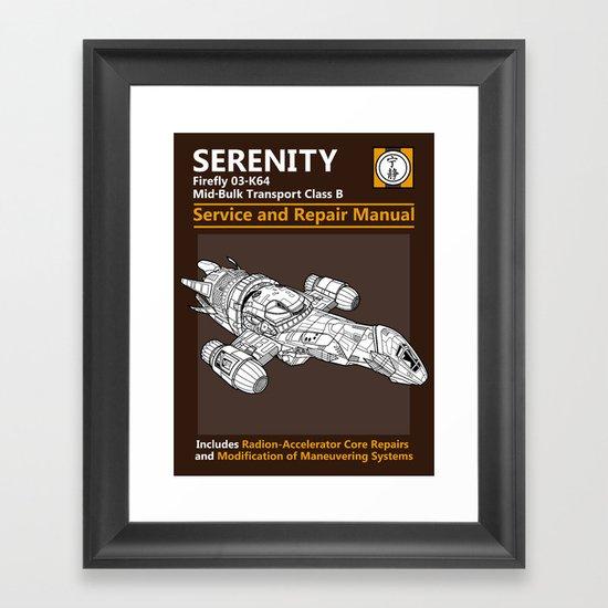 Serenity Service and Repair Manual Framed Art Print