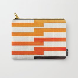 Orange & Black Geometric Minimal Mid Century Modern Lightning Bolt Pattern Watercolor Art Carry-All Pouch