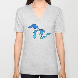Great Lakes in Blue Unisex V-Neck