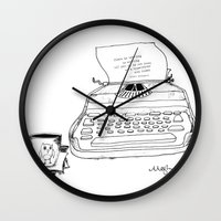 hemingway Wall Clocks featuring Earnest Hemingway Writing on Typewriter by Meghann Chapman