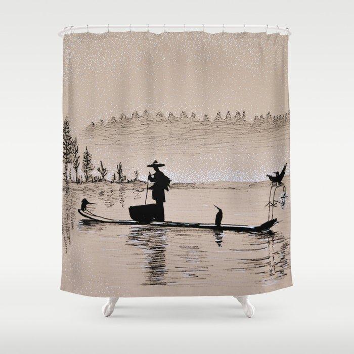Sunrise Bird Fishing Shower Curtain