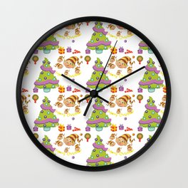 Hand painted green red Merry Christmas holiday typography pattern Wall Clock