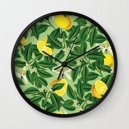 Lemonade Garden, Green Fresh Lemon Botanical Illustration, Vibrant Summer Tropical Fruit Nature Wall Clock