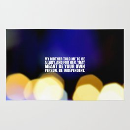 """My mother told me... """"Ruther Bader Ginsburg"""" Life Inspirational Quote Rug"""