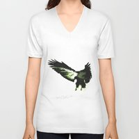 eagle V-neck T-shirts featuring Eagle by Yaroslav Greb
