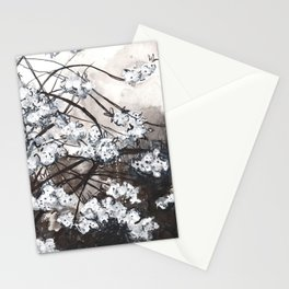 Cherry Blossom in the Rain - Ink Drawing Stationery Cards