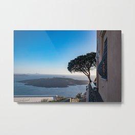 Lone Tree in Thira, View of Volcano in Santorini Metal Print