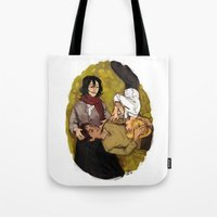 attack on titan Tote Bags featuring A Nap on Titan by crowry