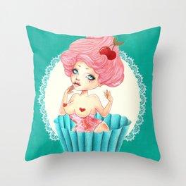 Cupcake Girl Throw Pillow
