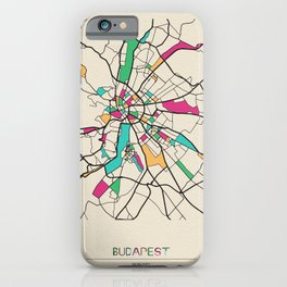 Colorful City Maps: Budapest, Hungary iPhone Case